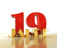 Golden number nineteen number 19 and the word. `years` against the backdrop of the prospect of gold lines. Translated from the German - years. 3D illustration Royalty Free Stock Photography