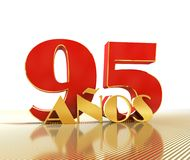 Golden number ninety five number 95 and the word. `years` against the backdrop of the prospect of gold lines. Translated from the Spanish - years. 3D Stock Photography