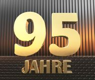 Golden number ninety five number 95 and the word. `years` against the background of metal rectangular parallelepipeds in the rays of sunset.  Translated from Royalty Free Stock Photos