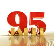 Golden number ninety five number 95 and the word. `years` against the backdrop of the prospect of gold lines. Translated from the German - years. 3D Royalty Free Stock Photos