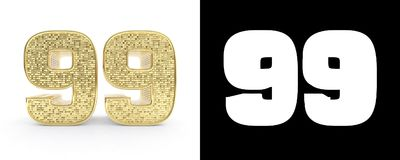 Golden number ninety nine number 99 on white background with drop shadow and alpha channel. 3D illustration.  Stock Illustration