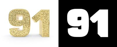 Golden number ninety one number 91 on white background with drop shadow and alpha channel. 3D illustration.  stock illustration