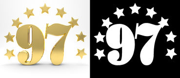 Golden number ninety seven on white background with drop shadow and alpha channel , decorated with a circle of stars. Royalty Free Stock Photography