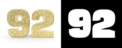 Golden number ninety twonumber 92 on white background with drop shadow and alpha channel. 3D illustration. Golden number ninety two number 92 on white background royalty free illustration