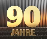 Golden number ninety number 90 and the word. `years` against the background of metal rectangular parallelepipeds in the rays of sunset.  Translated from the Stock Image
