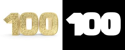 Golden number one hundred number 100 on white background with drop shadow and alpha channel. 3D illustration.  Vector Illustration