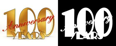 Golden number one hundred number 100 and the word. `years` against the backdrop of the prospect of greeting text. 3D illustration Royalty Free Stock Photography