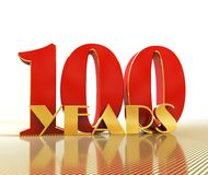 Golden number one hundred number 100 and the word. `years` against the backdrop of the prospect of gold lines. 3D illustration Royalty Free Stock Photography