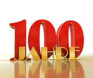 Golden number one hundred number 100 and the word. `years` against the backdrop of the prospect of gold lines. Translated from the German - years. 3D Royalty Free Stock Photography