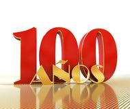 Golden number one hundred number 100 and the word. `years` against the backdrop of the prospect of gold lines. Translated from the Spanish - years. 3D Stock Photography