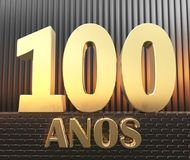Golden number one hundred number 100 and the word. `years` against the background of metal rectangular parallelepipeds in the rays of sunset.  Translated from Stock Image
