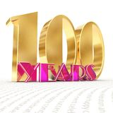 Golden number one hundred number 100 and the word. `years` against the backdrop of the prospect of greeting text. 3D illustration Royalty Free Stock Images
