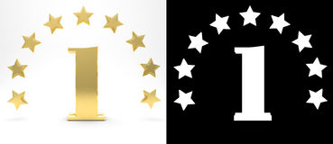 Golden number one on white background with drop shadow and alpha channel , decorated with a circle of stars. 3D illustration Royalty Free Stock Images