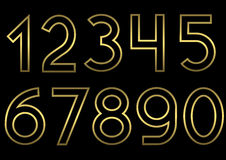 Golden number set Royalty Free Stock Image