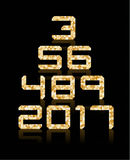 Golden number set with transparent reflections. Royalty Free Stock Images