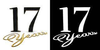 Golden number seventeen number 17 and the inscription years with drop shadow and alpha channel. 3D illustration.  royalty free illustration