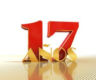 Golden number seventeen number 17 and the word. `years` against the backdrop of the prospect of gold lines. Translated from the Spanish - years. 3D illustration Royalty Free Stock Photo