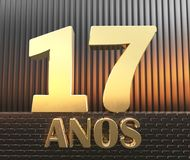 Golden number seventeen number 17 and the word. `years` against the background of metal rectangular parallelepipeds in the rays of sunset.  Translated from the Stock Photos