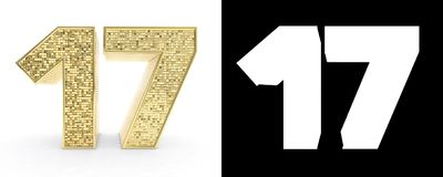 Golden number seventeen number 17 on white background with drop shadow and alpha channel. 3D illustration.  stock illustration
