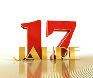 Golden number seventeen number 17 and the word. `years` against the backdrop of the prospect of gold lines. Translated from the German - years. 3D illustration Stock Image