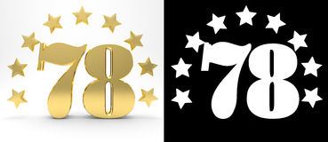 Golden number seventy eight on white background with drop shadow and alpha channel , decorated with a circle of stars. Royalty Free Stock Photography