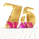 Golden number seventy five number 75 and the word. `years` against the backdrop of the prospect of greeting text. 3D illustration Royalty Free Stock Image