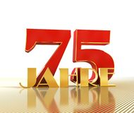 Golden number seventy five number 75 and the word. `years` against the backdrop of the prospect of gold lines. Translated from the German - years. 3D Royalty Free Stock Photography