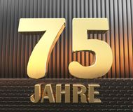 Golden number seventy five number 75 and the word. `years` against the background of metal rectangular parallelepipeds in the rays of sunset.  Translated from Royalty Free Stock Photo