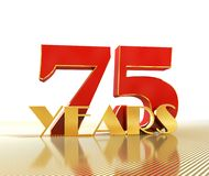 Golden number seventy five number 75 and the word. `years` against the backdrop of the prospect of gold lines. 3D illustration Stock Image