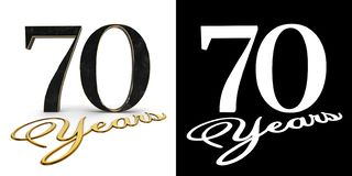Golden number seventy number 70 and the inscription years with drop shadow and alpha channel. 3D illustration.  royalty free illustration