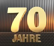 Golden number seventy number 70 and the word. `years` against the background of metal rectangular parallelepipeds in the rays of sunset.  Translated from the Stock Photography