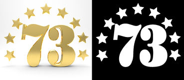 Golden number seventy three on white background with drop shadow and alpha channel , decorated with a circle of stars. Royalty Free Stock Image