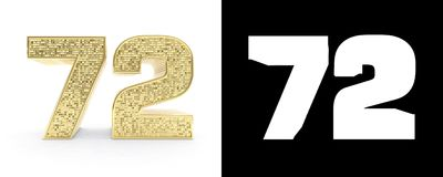 Golden number seventy two number 72 on white background with drop shadow and alpha channel. 3D illustration.  Royalty Free Illustration