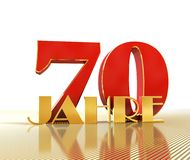 Golden number seventy number 70 and the word. `years` against the backdrop of the prospect of gold lines. Translated from the German - years. 3D illustration Stock Illustration