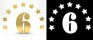 Golden number six on white background with drop shadow and alpha channel , decorated with a circle of stars. 3D illustration Royalty Free Stock Images