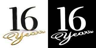 Golden number sixteen number 16 and the inscription years with drop shadow and alpha channel. 3D illustration.  vector illustration