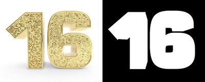 Golden number sixteen number 16 on white background with drop shadow and alpha channel. 3D illustration.  vector illustration