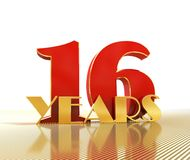Golden number sixteen number 16 and the word. `years` against the backdrop of the prospect of gold lines. 3D illustration royalty free illustration