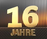 Golden number sixteen number 16 and the word. `years` against the background of metal rectangular parallelepipeds in the rays of sunset. Translated from the stock illustration