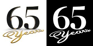 Golden number sixty five number 65 and the inscription years with drop shadow and alpha channel. 3D illustration.  royalty free illustration