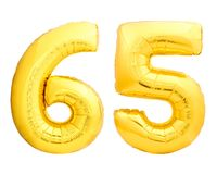 Golden number 65 sixty five made of inflatable balloon Stock Images