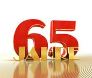 Golden number sixty five number 65 and the word. `years` against the backdrop of the prospect of gold lines. Translated from the German - years. 3D illustration Vector Illustration