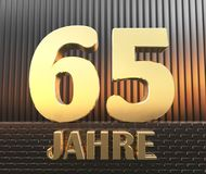Golden number sixty five number 65 and the word. `years` against the background of metal rectangular parallelepipeds in the rays of sunset. Translated from the Stock Illustration