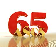 Golden number sixty five number 65 and the word. `years` against the backdrop of the prospect of gold lines. Translated from the Spanish - years. 3D Vector Illustration
