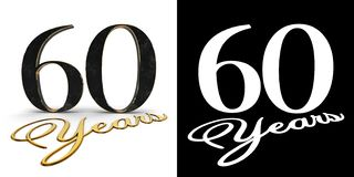 Golden number sixty number 60 and the inscription years with drop shadow and alpha channel. 3D illustration.  royalty free illustration