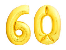Golden number 60 sixty made of inflatable balloon Royalty Free Stock Images