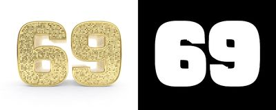 Golden number sixty nine number 69 on white background with drop shadow and alpha channel. 3D illustration.  Royalty Free Illustration