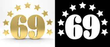 Golden number sixty nine on white background with drop shadow and alpha channel , decorated with a circle of stars. Stock Images