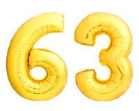 Golden number 63 sixty three made of inflatable balloon Stock Images