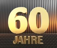 Golden number sixty number 60 and the word. `years` against the background of metal rectangular parallelepipeds in the rays of sunset.  Translated from the Stock Photos
